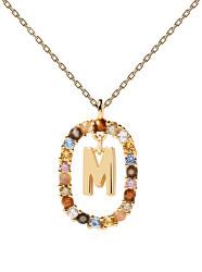 """Krásný pozlacený náhrdelník písmeno """"M"""" LETTERS CO01-272-U (řetízek, přívěsek)"""