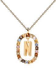 """Krásný pozlacený náhrdelník písmeno """"N"""" LETTERS CO01-273-U (řetízek, přívěsek)"""