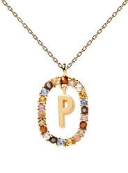 """Krásný pozlacený náhrdelník písmeno """"P"""" LETTERS CO01-275-U (řetízek, přívěsek)"""