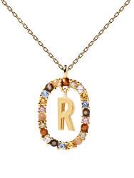 """Krásný pozlacený náhrdelník písmeno """"R"""" LETTERS CO01-277-U (řetízek, přívěsek)"""
