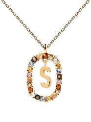 """Krásný pozlacený náhrdelník písmeno """"S"""" LETTERS CO01-278-U (řetízek, přívěsek)"""