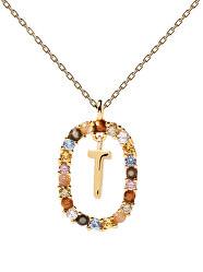 """Krásný pozlacený náhrdelník písmeno """"T"""" LETTERS CO01-279-U (řetízek, přívěsek)"""