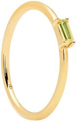 Minimalistaaranyozott ezüst gyűrű zöld cirkónium kövekkel APPLE AMANI  Gold AN01-147