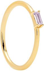 Minimalistický pozlacený prsten ze stříbra se zirkonem PURPLE AMANI Gold AN01-148