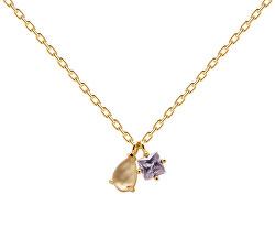 Něžný pozlacený náhrdelník ze stříbra VELOURS CO01-182 (řetízek, přívěsky)