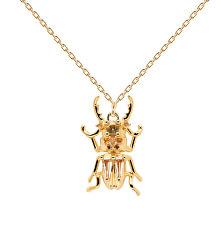 Originální pozlacený náhrdelník COURAGE Beetle Amulet CO01-253-U (řetízek, přívěsek)