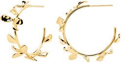Pozlacené květinové náušnice kruhy LILY Gold AR01-193-U
