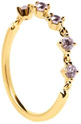 Csillogó aranyozott gyűrű cirkónium kövekkel VICTORIA AN01-199
