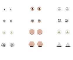 Elegantný set náušníc so zirkónmi a syntetickými perlami (12 párov) PXE7971