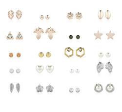 Luxusní set náušnic se zirkony a syntetickými perlami (20 párů) PXE8463