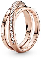 Bronzový propletený prsten se zirkony Pavé 189057C01