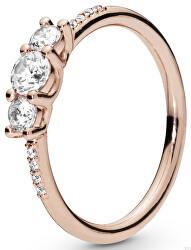 Bronzový prsten s čirými kamínky 186242CZ