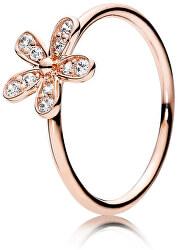 Bronzový prsten s třpytivou květinou 180932CZ