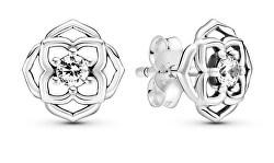 Hravé stříbrné náušnice Květina 299371c01