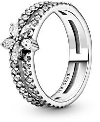 Krásný stříbrný prsten s kamínky Sparkling Snowflake 199236C01