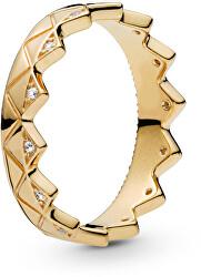 Luxusní pozlacený prsten Korunka Shine 168033CZ