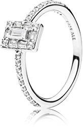 Luxusní třpytivý prsten ze stříbra 197541CZ