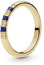 Pozlacený prsten s krystaly a modrými pruhy Shine 168052CZ