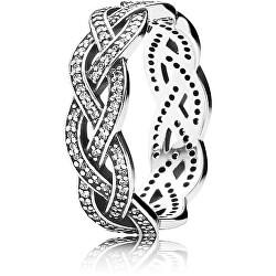 Proplétaný stříbrný prsten s kamínky 190913CZ