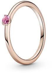 Půvabný bronzový prsten s krystalem Rose 189259C03