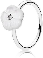 Romantický prsten s bělostným květem 190999MOP