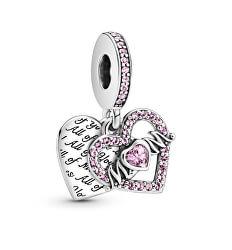 Romantický stříbrný přívěsek Srdce a maminka Moments 799402C01