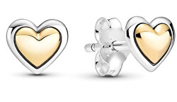 Stříbrné bicolor náušnice Srdíčka 299389c00