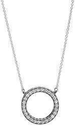 Stříbrný náhrdelník s krystalovým přívěskem 590514CZ-45