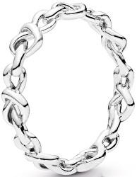 Stříbrný prsten Propletená srdce 198018