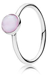 Stříbrný prsten s růžovým krystalem 191012NOP