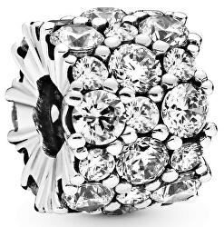 Strieborný trblietavý korálku so zirkónmi 798487C01