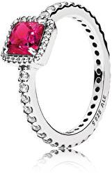 Třpytivý stříbrný prsten s červeným krystalem 190947SRU