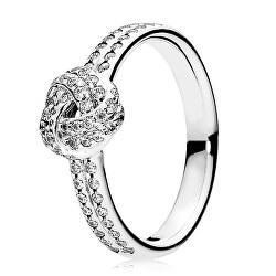 Třpytivý stříbrný prsten s uzlíkem 190997CZ