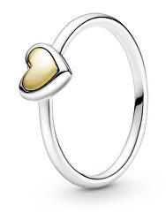 Zamilovaný stříbrný bicolor prsten se srdíčkem 199396c00