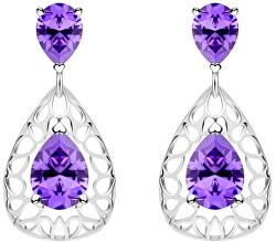 Elegantné strieborné náušnice Lyra Violet 5261 56