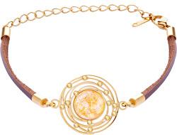 Kožený náramok so zlatistým krištáľom Mays 7359Y50