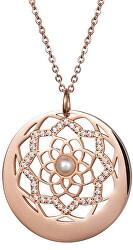 Náhrdelník s krystaly a perličkou Flower of Love 7286P01