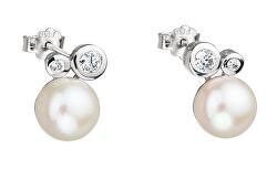 Nežné náušnice s riečnou perlou a kryštály kubické zirkónia Mere 5094 00