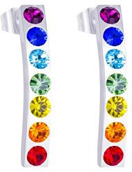 Ocelové náušnice s barevnými krystaly Keren 7297 70