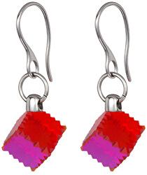 Ocelové náušnice s červeným krystalem Jaclyn 7263 57