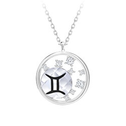 Strieborný náhrdelník s českým krištáľom Blíženci Sparkling Zodiac 6150 86 (retiazka, prívesok)