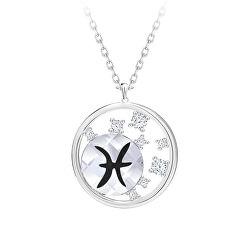 Strieborný náhrdelník s českým krištáľom Ryby Sparkling Zodiac 6150 83 (retiazka, prívesok)