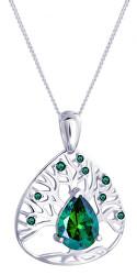 Stříbrný náhrdelník se zirkony Green Tree of Life 5220 66 (řetízek, přívěsek)