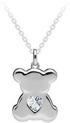 Strieborný náhrdelník Shiny Teddy s kubickou zirkónia Preciosa 5326 00 (retiazka, prívesok)
