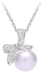 Trblietavý strieborný náhrdelník Naurica s riečnou perlou a kubickou zirkónia Preciosa 5310 00