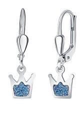 Dětské stříbrné náušnice Modrá korunka NA6356_RH