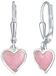Dívčí stříbrné náušnice Růžové srdce NA6069_RH