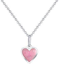 Dívčí stříbrný náhrdelník Růžové srdce KO6068_CU025_40_A_RH  (řetízek, přívěsek)