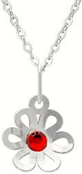 Dievčenské strieborný náhrdelník s kryštálom KO2091_BR030_40_RH (retiazka, prívesok)