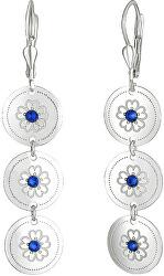 Elegantní stříbrné náušnice s modrými krystaly Saphire NA6074_RH